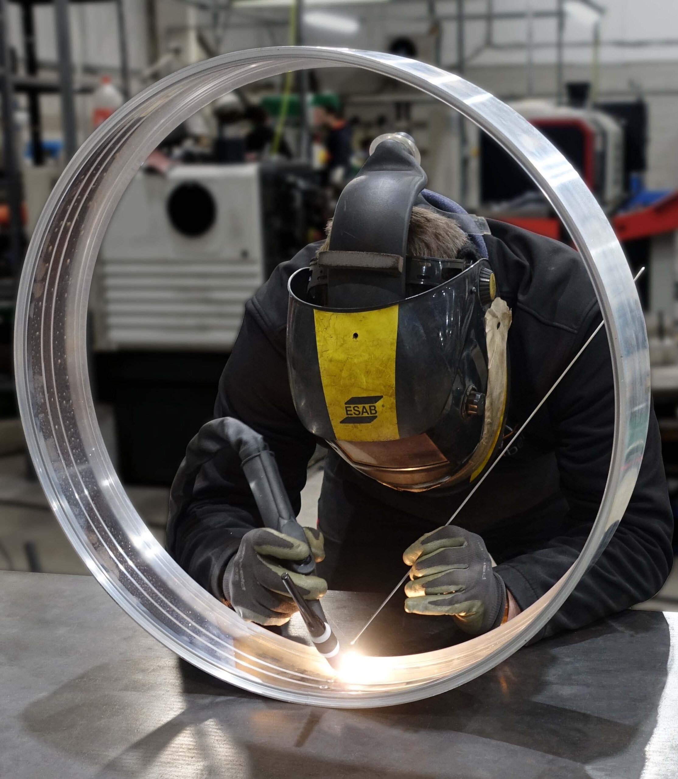 Curved Aluminium Circle being Welded